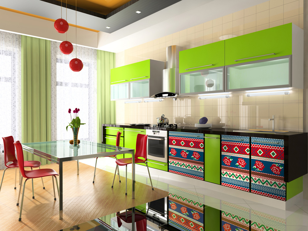 Beautifully Bright Colored Kitchen Designs